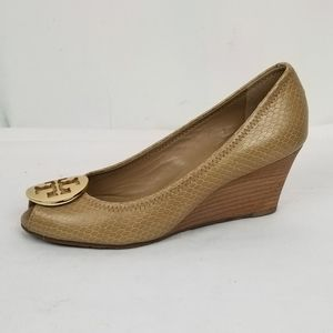 Tory Burch Leather Peep Toe Wedges size 7